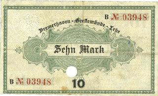 1.11.1918 DEUTSCHLAND - NOTGELDSCHEINE (1914-1923) A - J Bremerhaven. Geestemünde und Lehe. Städte. Billet. 10 mk 1.11.1918, annulation par perfo Petite rousseur / revers, ss