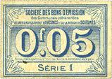 FRANZÖSISCHE NOTSCHEINE Avesnes (59). Société des Bons d'Emission. Billet. 5 cmes n. d., série 1 ss