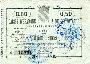 FRANZÖSISCHE NOTSCHEINE Avesnes (59). Caisse d'Epargne et Prévoyance. Billet. 50 cmes n. d., annulation par coupure ss+