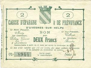 FRANZÖSISCHE NOTSCHEINE Avesnes (59). Caisse d'Epargne et Prévoyance. Billet. 2 francs n. d., série 2 vz