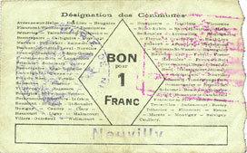 FRANZÖSISCHE NOTSCHEINE Neuvilly (59). Société des Bons d'Emission. Billet. 1 franc, série 1 ss+