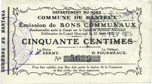 22.8.1915 FRANZÖSISCHE NOTSCHEINE Banteux (59). Commune. Billet. 50 cmes 22.8.1915 vz