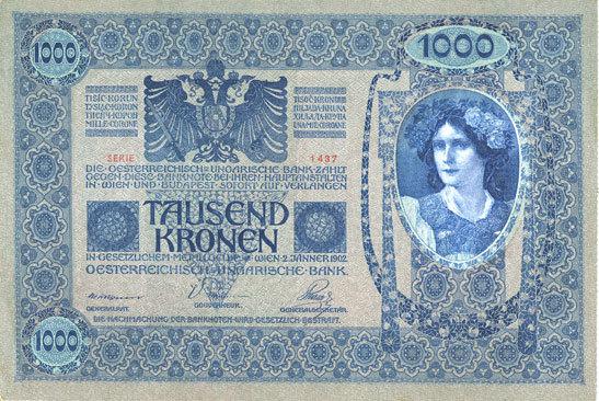 2.1.1902 ANDERE AUSLÄNDISCHE SCHEINE Autriche. Banque Austro-Hongroise. Billet. 1000 couronnes (1919) surchargé sur billet du 2.1.1902 vz+