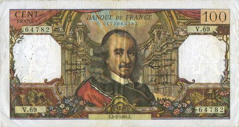 4.2.1965 BANKNOTEN DER BANQUE DE FRANCE Banque de France. Billet. 100 francs, Corneille, 4.2.1965 ss / s+
