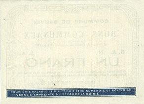 11.3.1915 FRANZÖSISCHE NOTSCHEINE Bauvin (59). Commune. Billet. 1 franc 11.3.1915, SPECIMEN vz+