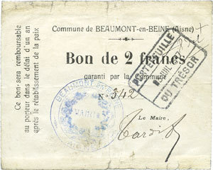 FRANZÖSISCHE NOTSCHEINE Beaumont-en-Beine (02). Commune. Billet. 2 francs n. d. Consolidé au revers, s+