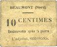 FRANZÖSISCHE NOTSCHEINE Beaumont (59). Mairie. Billet. 10 centimes s-ss