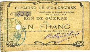 12.7.1915 FRANZÖSISCHE NOTSCHEINE Bellenglise (02). Commune. Billet. Bon de guerre. 1 franc 12.7.1915 s+