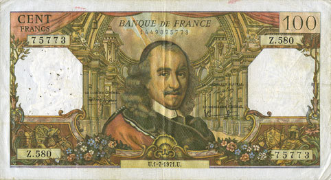 1.7.1971 BANKNOTEN DER BANQUE DE FRANCE Banque de France. Billet. 100 francs, Corneille, 1.7.1971 s+