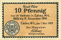 1.5.1917 DEUTSCHLAND - NOTGELDSCHEINE (1914-1923) A - J Calau. Stadt. Billet. 10 pfennig 1.5.1917 I