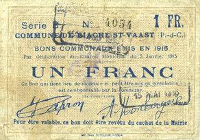 5.1.1915 FRANZÖSISCHE NOTSCHEINE Biache-Saint-Waast (62). Commune. Billet. 1 franc 5.1.1915, série B s+