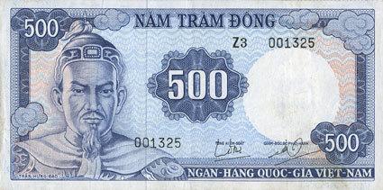 1966 ANDERE AUSLÄNDISCHE SCHEINE Vietnam du Sud. Banque Nationale du Vietnam. Billet. 500 dong (1966) ss+