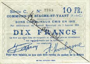 5.1.1915 FRANZÖSISCHE NOTSCHEINE Biache-Saint-Waast (62). Commune. Billet. 10 francs 5.1.1915, série C, annulation manuelle Trace de trombone au revers, vz / ss