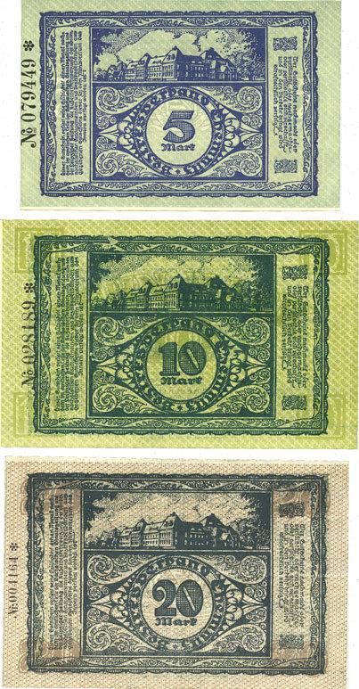 1918-11-15 DEUTSCHLAND - NOTGELDSCHEINE (1914-1923) A - J Cheminitz. Amtshauptmannschaft. Billets. 5 mk, 10 mk, 20 mk 15.11.1918 3 billets, neufs