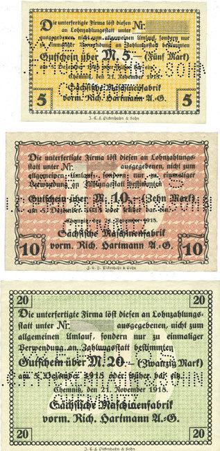 1918-11-21 DEUTSCHLAND - NOTGELDSCHEINE (1914-1923) A - J Chemnitz Sächsische Maschinenfabrik vorm Rich. Hartmann AG. Billets. 5, 10, 20 mk 21.11.1918 3 billets, neufs