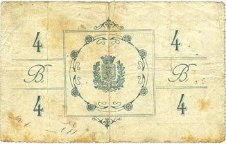 8.7.1915 FRANZÖSISCHE NOTSCHEINE Bohain (02). Ville. Billet. Bon de guerre. 4 francs 8.7.1915, 5e émission B à s