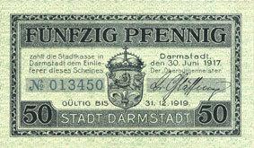 30.6.1917 DEUTSCHLAND - NOTGELDSCHEINE (1914-1923) A - J Darmstadt. Stadt. Billet. 50 pfennig 30.6.1917 ss