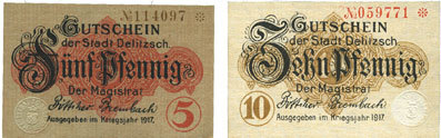 1917 DEUTSCHLAND - NOTGELDSCHEINE (1914-1923) A - J Delitzsch. Stadt. Billets. 5 pf, 10 pf 1917 2 billets, neufs