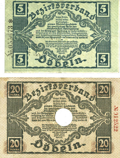 8.11.1918 DEUTSCHLAND - NOTGELDSCHEINE (1914-1923) A - J Döbeln. Amtshauptmannschaft. Billets. 5, 20 mark 8.11.1918 2 billets, ss