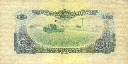 1975 ANDERE AUSLÄNDISCHE SCHEINE Vietnam du Sud. Billet. 50 dong 1966 (1975) s+