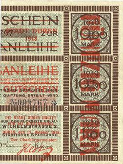 1918-10-17 DEUTSCHLAND - NOTGELDSCHEINE (1914-1923) A - J Düren. Stadt. Billet. 50 mark 17.10.1918 imprimé sur 10 mark du 15.9.1917 Superbe