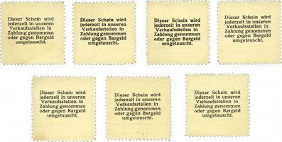 1916 DEUTSCHLAND - NOTGELDSCHEINE (1914-1923) A - J Düren. Konsum- und Sparverein. Billets. 1, 2, 5, 10, 20, 50, 100 pf (1916) 7 billets, neufs