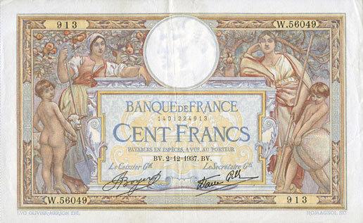 2.12.1937 BANKNOTEN DER BANQUE DE FRANCE Banque de France. Billet. 100 francs Merson 2.12.1937, modifié Petite déchirure (4,5 mm) / bord droit sinon ss+