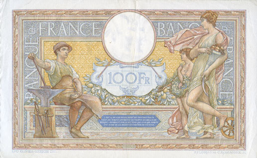 2.12.1937 BANKNOTEN DER BANQUE DE FRANCE Banque de France. Billet. 100 francs Merson 2.12.1937, modifié ss+
