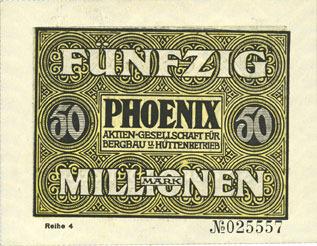 15.9.1923 DEUTSCHLAND - NOTGELDSCHEINE (1914-1923) A - J Düsseldorf. Phoenix. Billet. 50 millions de mark du 15.9.1923, série (Reihe) 4 I