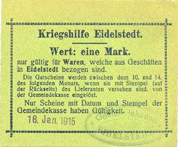 16.1.1915 DEUTSCHLAND - NOTGELDSCHEINE (1914-1923) A - J Eidelstedt. Kriegshilfe Eidelstedt. Billet. 1 mark 16.1.1915, au dos : nom manuscrit I