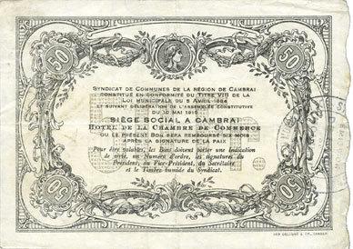10.5.1916 FRANZÖSISCHE NOTSCHEINE Cambrai (59). Syndicat de Communes de la Région de Cambrai. Billet. 50 francs 10.5.1916, série A vz