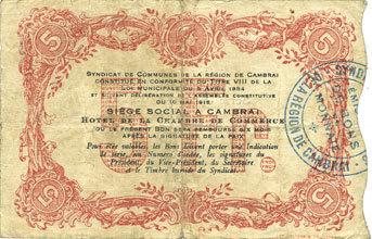 10.5.1916 FRANZÖSISCHE NOTSCHEINE Cambrai (59). Syndicat de Communes de la Région de Cambrai. Billet. 5 francs 10.5.1916, série J s