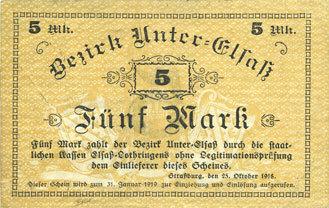1918-10-25 FRANZÖSISCHE NOTSCHEINE Bas-Rhin (67). Bezirk Unter-Elsass. Billet. 5 mark Strasbourg, 25.10.1918 s+