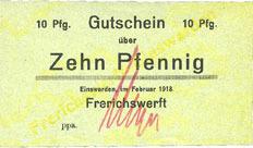 février 1918 DEUTSCHLAND - NOTGELDSCHEINE (1914-1923) A - J Einswarden. Frerichswerft. Billet. 10 pfennig février 1918 I
