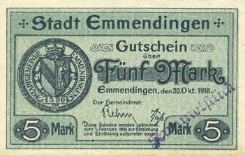1918-10-30 DEUTSCHLAND - NOTGELDSCHEINE (1914-1923) A - J Emmendingen. Stadt. Billet. 5 mark 30.10.1918, original I
