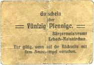 1917 DEUTSCHLAND - NOTGELDSCHEINE (1914-1923) A - J Erbach-Reiskirchen. Gemeinde. Billet. 50 pfennig (1917), au dos, numérotation manuscrite en noir... s / s+