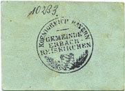 1917 DEUTSCHLAND - NOTGELDSCHEINE (1914-1923) A - J Erbach-Reiskirchen. Gemeinde. Billet. 10 pfennig (1917), au dos, numérotation manuscrite en noir... s+ / ss
