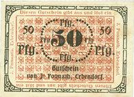 DEUTSCHLAND - NOTGELDSCHEINE (1914-1923) A - J Erbendorf. Ponnath J.. Billet. 50 pfennig I