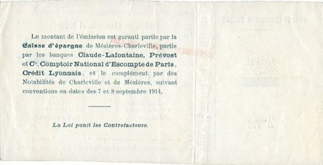 FRANZÖSISCHE NOTSCHEINE Charleville et Mézières (08). Villes. Billet. Bon de Caisse. 2 francs, série H, spécimen avec souche vz