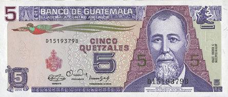 31.1.1990 ANDERE AUSLÄNDISCHE SCHEINE Guatemala. Billet. 5 quetzales 31.1.1990 I