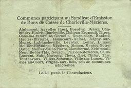 11.3.1916 FRANZÖSISCHE NOTSCHEINE Charleville et Mézières (08). Syndicat d'Emission de Bons de Caisse. 1 franc 11.3.1916, série D Très petites taches, ss
