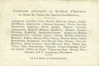 11.3.1916 FRANZÖSISCHE NOTSCHEINE Charleville et Mézières (08). Syndicat d'Emission de Bons de Caisse. 5 francs 11.3.1916, série G vz+