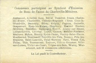 11.3.1916 FRANZÖSISCHE NOTSCHEINE Charleville et Mézières (08). Syndicat d'Emission de Bons de Caisse. 10 francs 11.3.1916, série E vz