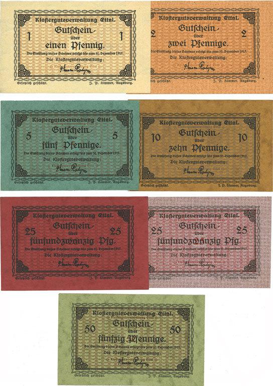1917-12-31 DEUTSCHLAND - NOTGELDSCHEINE (1914-1923) A - J Ettal. Klostergutsverwaltung. Billets. 1, 2, 5, 10, 25 (2ex), 50 pf n. d. - 31.12.1917 7 billets, neufs
