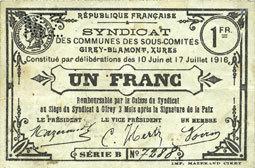 17.7.1916 FRANZÖSISCHE NOTSCHEINE Cirey-Blamont, Xures (54). Syndicat des Communes des sous-comités. Billet. 1 franc 10.6 et 17.7.1916 ss