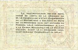 1918-12-15 FRANZÖSISCHE NOTSCHEINE Colmar (68). Ville. Billet. 50 centimes 15.12.1918, sans série ss