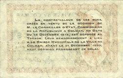 1918-12-15 FRANZÖSISCHE NOTSCHEINE Colmar (68). Ville. Billet. 50 centimes 15.12.1918, sans série vz