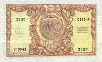 1951-12-31 ANDERE AUSLÄNDISCHE SCHEINE Italie. Billet. 100 lires 31.12.1951 vz+