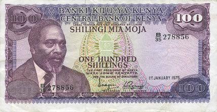 1.1.1975 ANDERE AUSLÄNDISCHE SCHEINE Kenya. Billet. 100 shillings 1.1.1975 ss+