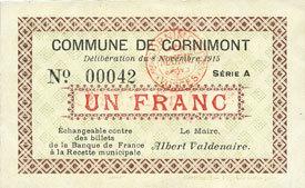 8.11.1915 FRANZÖSISCHE NOTSCHEINE Cornimont (88). Commune. Billet. 1 franc 8.11.1915, série A I